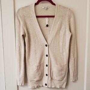 Madewell cotton vneck boyfriend cardigan sweater